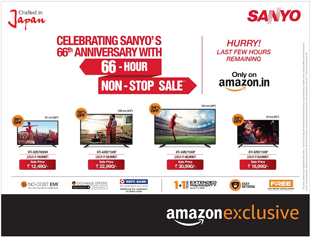 Best time to Buy LED TVs with amazing offers @ Amazon | Sanyo Decemeber 2016 offers