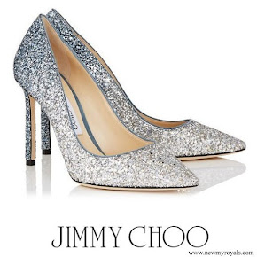 Kate Middleton wore Jimmy Choo Romy 100 Silver and Dusk Blue Fireball Glitter Dégradé Fabric Pointy Toe Pumps