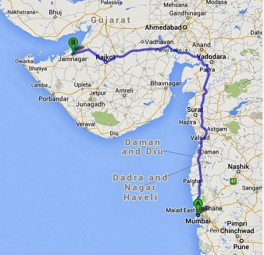 Map to Jamnagar