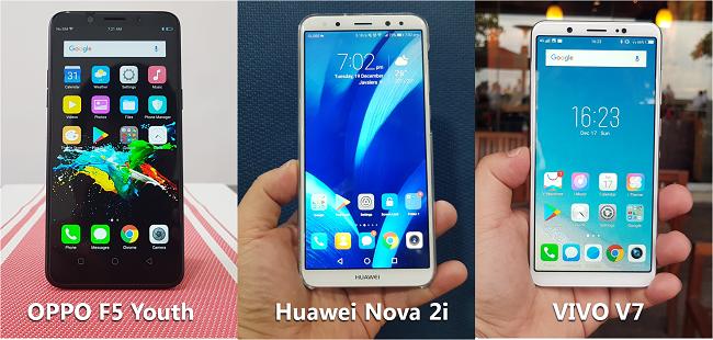 Compare OPPO F5 Youth vs Huawei Nova 2i vs Vivo V7 | Pinoy