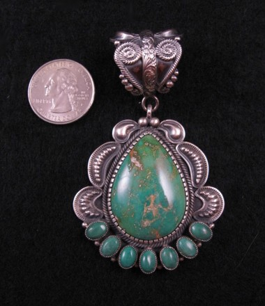Old Pawn Style Turquoise Silver Pendant by Kirk Smith
