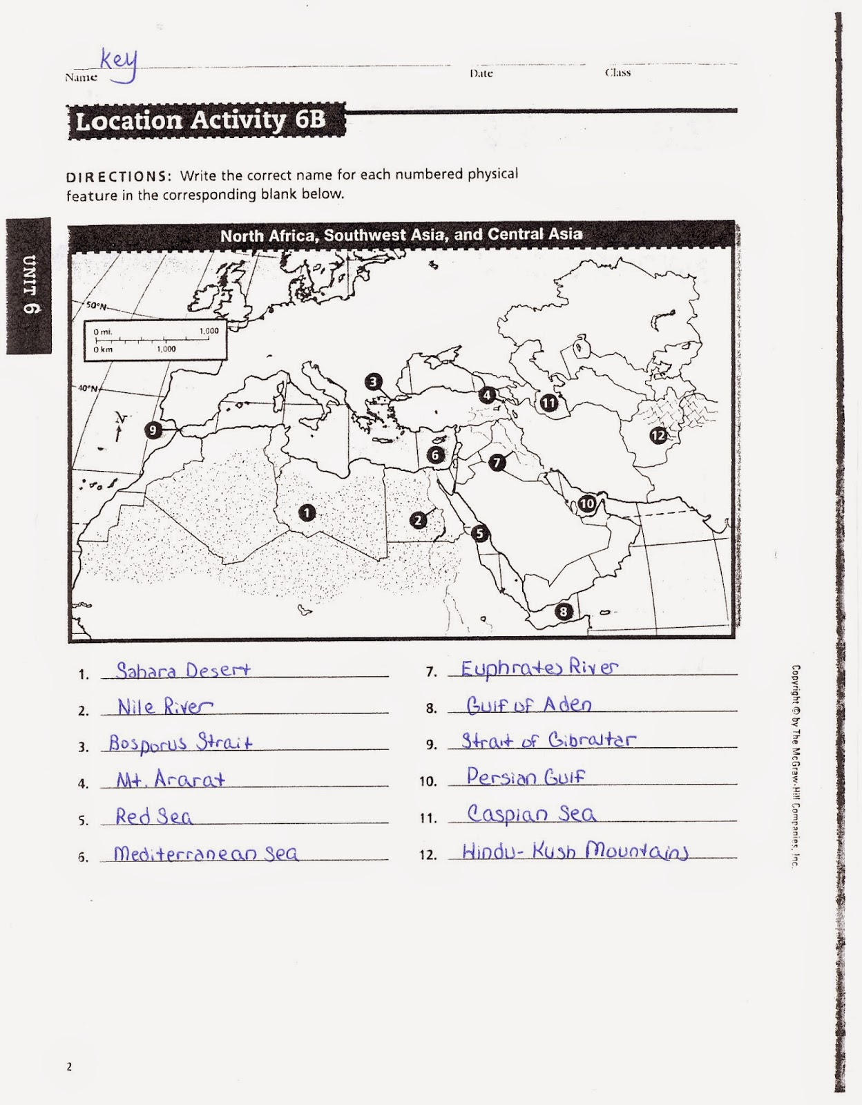 Worksheet On North Africa