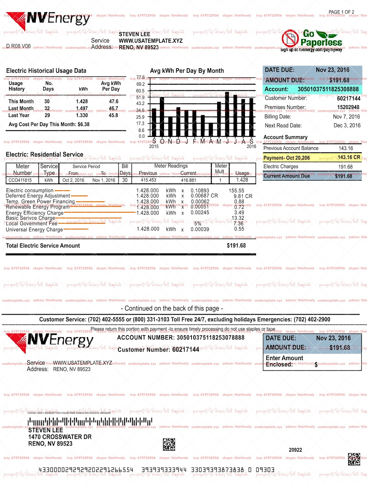 Neveda electricity psd photoshop template usa utility bill psd on this psd template you can put any name address and make your personalized fully editable neveda electricity psd template photoshop high quality pronofoot35fo Images