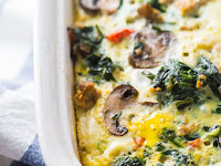 Whole30 Breakfast Bake with Sausage, Eggs, Spinach, and Mushrooms