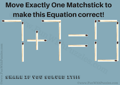 In this easy matchstick puzzle, your task is to move exactly one matchstick to make given equation correct.