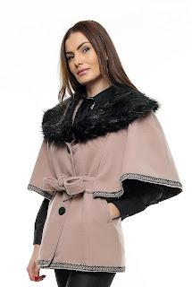 Capă damă cu guler blană – Ama Fashion