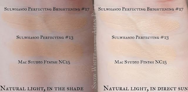 Sulwhasoo Cushion #13 and #17 swatches with Mac NC15