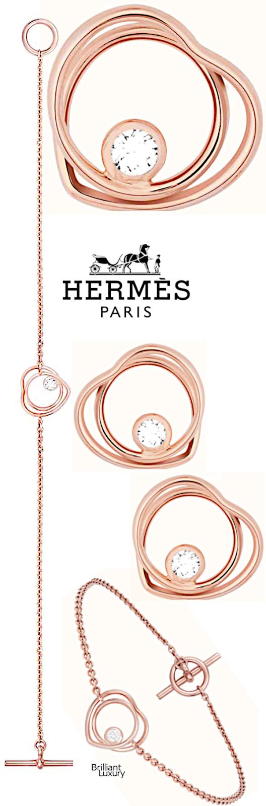 Brilliant Luxury♦Hermès Vertige Coeur bracelet and earrings #rosegold #jewelry