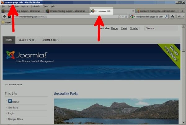 The title web browser in the top menu bar