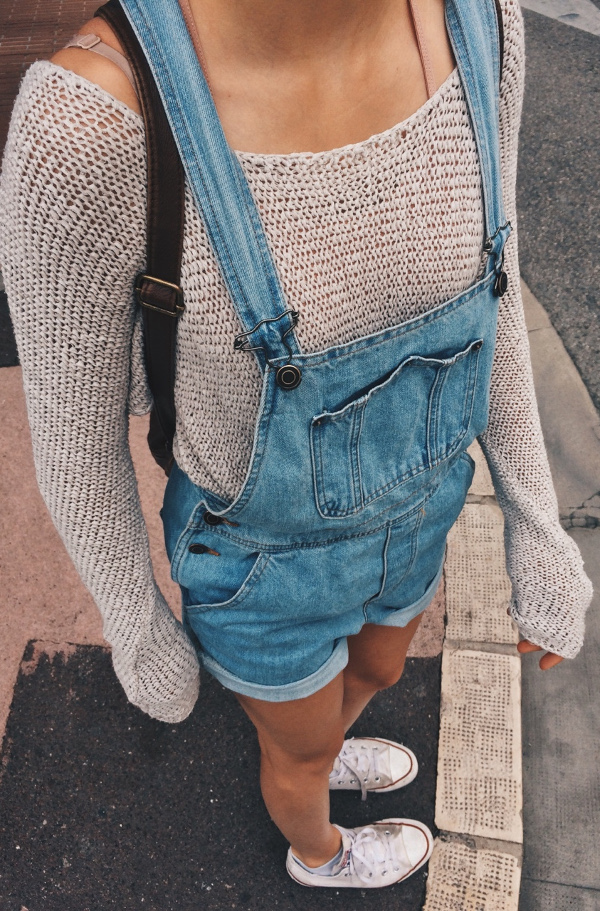 denim jumpsuit + cute knits
