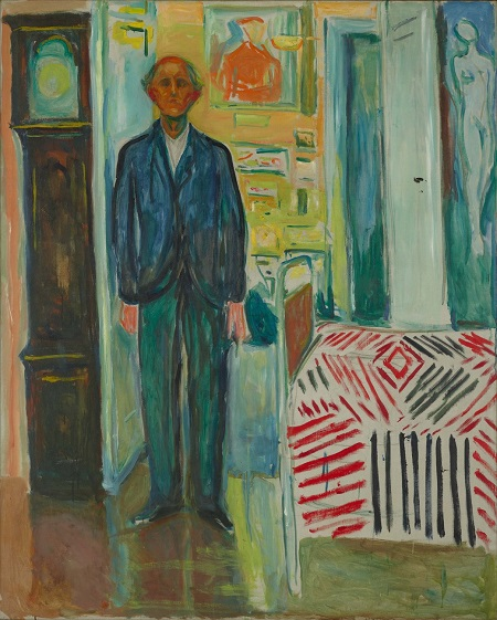 "Edvard Munch, Self-Portrait, ""Between the Clock and the Bed"", 1940-1943 | obras de arte, pinturas, cuadros, retratos, art pictures."