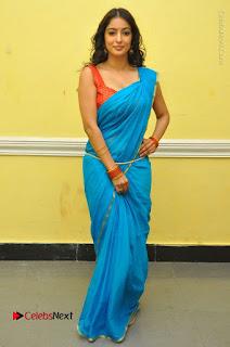 Telugu Actress Vaibhavi Stills in Blue Saree at Www.Meena Bazaar Movie Opening  0102.JPG