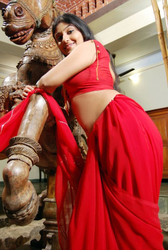 Tamil Actress Monika in Red Saree Hot and sexy images