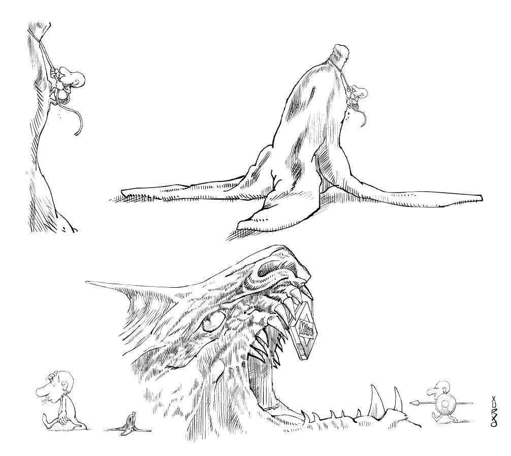 Un personaje escalando un plátano o banana y descendiendo por la boca de un dragón
