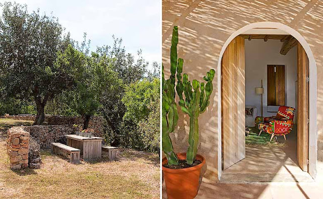 jardin con mesa de madera recuperada chicanddeco