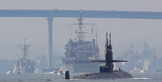 Nuclear submarines (here in San Diego Bay) use SMRs. [Image Credit: Jon Sullivan (public domain), via Wikimedia Commons] Click to Enlarge.
