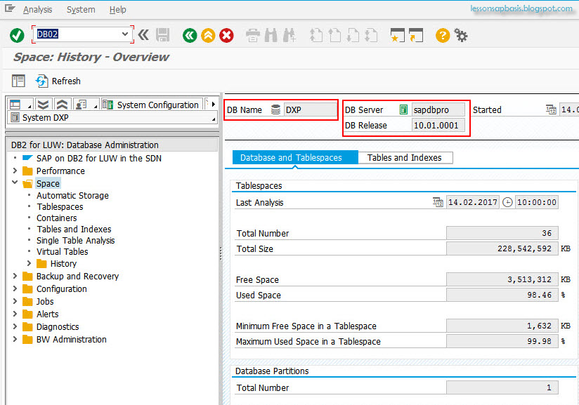 Lesson SAP Basis Administration: How to Check DB2 database