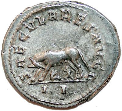 Reverso: amamantando a los gemelos Rómulo y Remo, fundadores de Roma