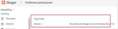 Tag meta deskripsi blog berhasil dibuat