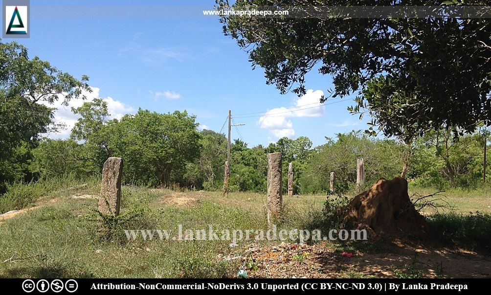 The stone pillars are surrounding an earth mound, probable Stupa, Galmaduwa temple, Ampara