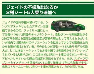ホンダ ジェイド 二列シートの5人乗りモデル