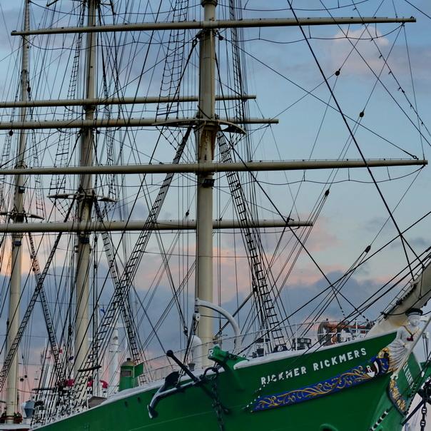 Rickmer, Rickmers, Schiff, Museum, Museumsschiff, grün, Abendhimmel, Mast, Taue, Takelage