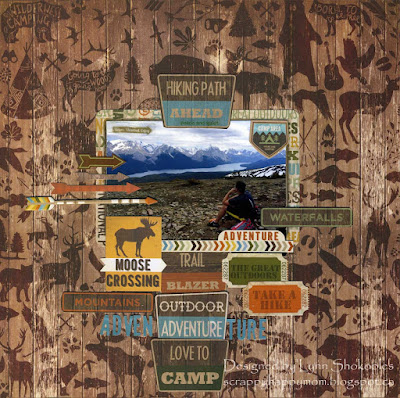 Outdoor Adventure layout by Lynn Shokoples for BoBunny featuring the Take A Hike Collection