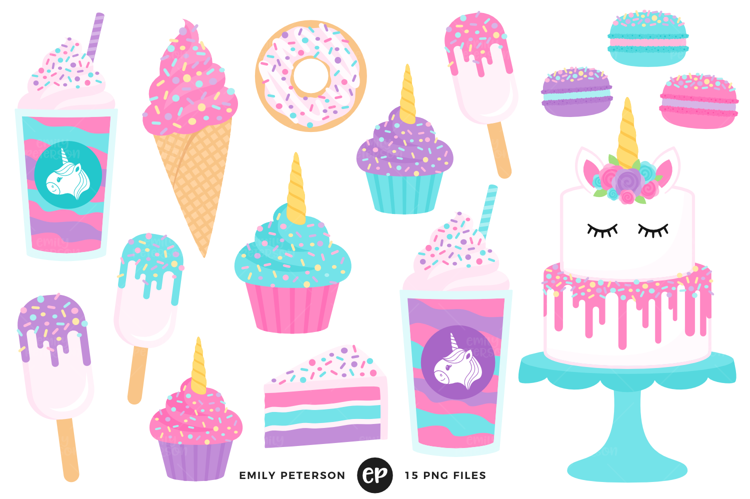 Unicorn Treats Clipart, Emily Peterson