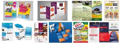 Beberapa contoh brosur hasil desain grafis