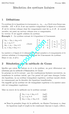 Cours Et Exercices Résolution des systèmes linéaires par la méthode de Gauss Algèbre 1 SMPC S1