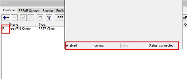 Status Koneksi PPTP VPN Mikrotik