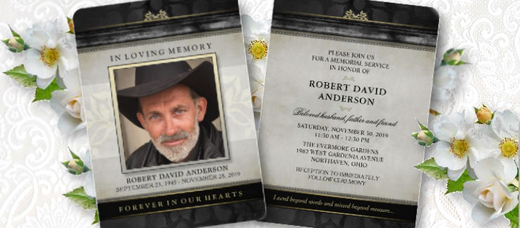 a classic and timeless black & gold memorial service invite for a man