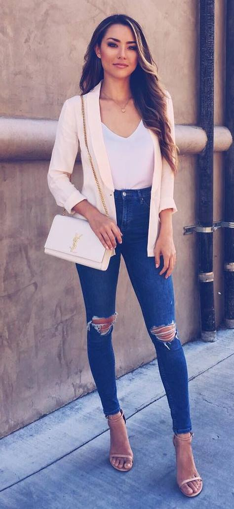 fashionable outfit idea: blush jacket + top + bag + rips + heels