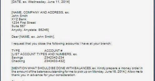 Request Letter To Bank For Account Closure In Word