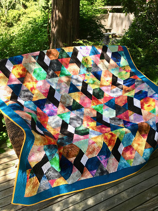"Sunny Splash Stained Glass Quilt Free Pattern designed, created, & quilted by Emily Breclaw for Lecien, featuring ""Sunny Splash"" Collection"
