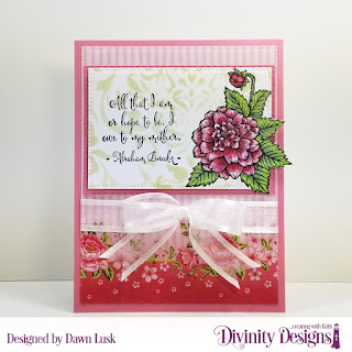 Divinity Designs Stamp Set: Grandmother's Heart, Paper Collection: Pretty Pink Peonies, Mixed Media Stencils: Damask, Custom Dies: Pierced Rectangles, Double Stitched Rectangles