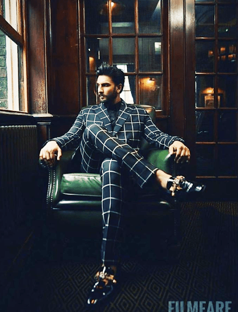 Ranveer Singh looking dapper as ever in a double breasted checkered suit by House of Sunil Mehra