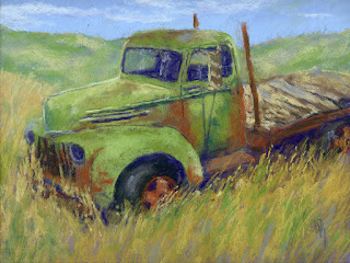 pastel painting truck abandoned Ford flatbed