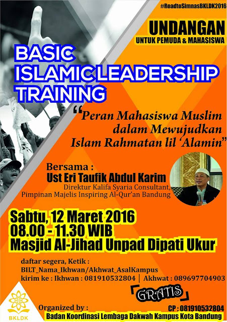 [UNDANGAN] Basic Islamic Leadership Training (BILT) BKLDK Kota Bandung