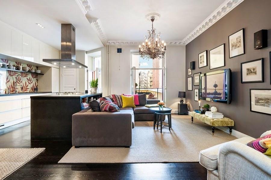 Apartament w Szwecji z kontrastową ścianą, wystrój wnętrz, wnętrza, urządzanie domu, dekoracje wnętrz, aranżacja wnętrz, inspiracje wnętrz,interior design , dom i wnętrze, aranżacja mieszkania, modne wnętrza, styl klasyczny, styl nowoczesny, ceglana ściana, ściana z cegły, salon, kuchnia, otwarta przestrzeń
