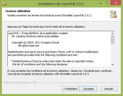 Contrat de Licence utilisateur de Launch4j