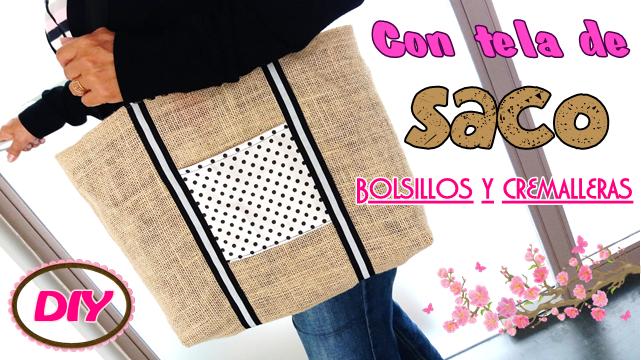 Yuyi 39 s creations bolso con tela de saco arpillera y - Saco de arpillera ...
