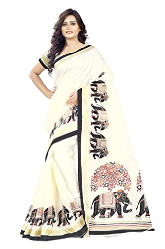 Jaanvi fashion Women's Khadi Silk Elephant Kalamkari Printed Saree (White_Free_Size)