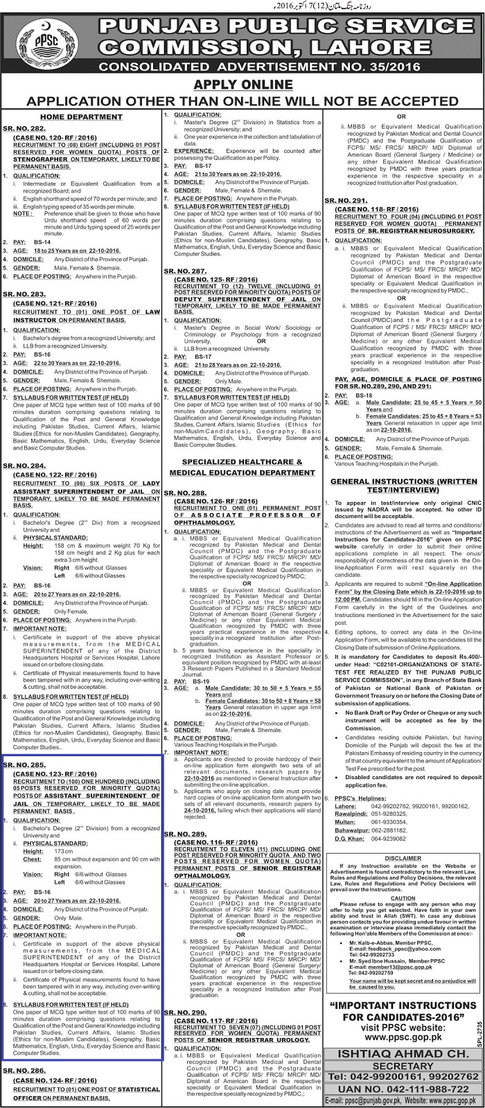 PPSC Jobs of Assistant Superintendent Jail