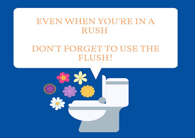 A graphic of a toilet surrounded by flowers, with the words 'Even when you're in a rush, don't forget to use the flush'