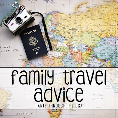 """Picture of map with camera and passport.  Text overlay says, """"Family Travel Advice."""""""