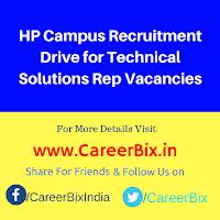 HP Campus Recruitment Drive for Technical Solutions Rep Vacancies