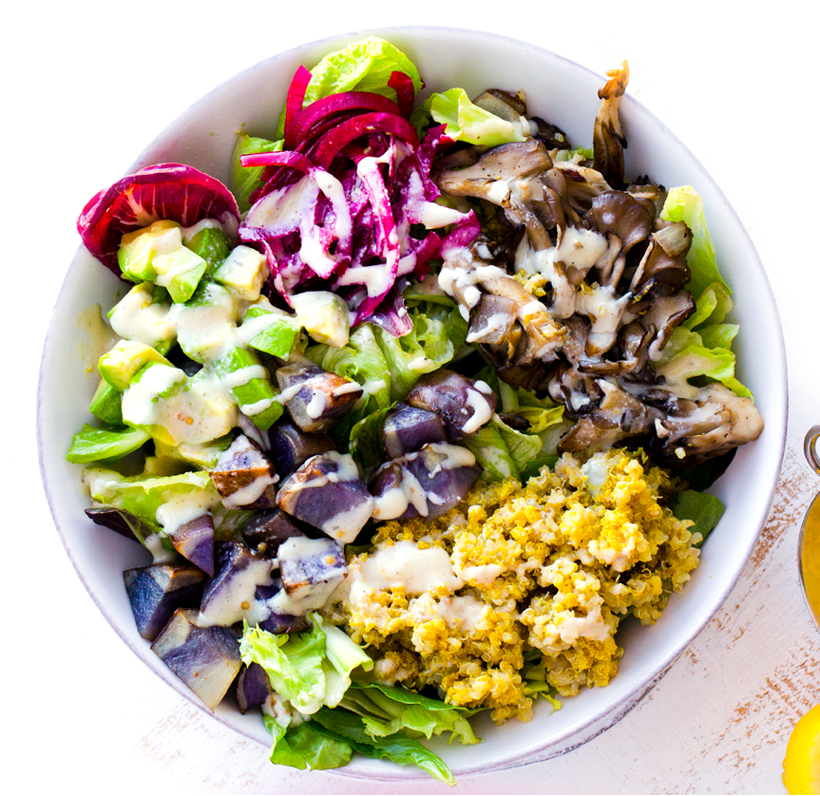 Purple Potato + Mushroom + Avocado Winter Bowl