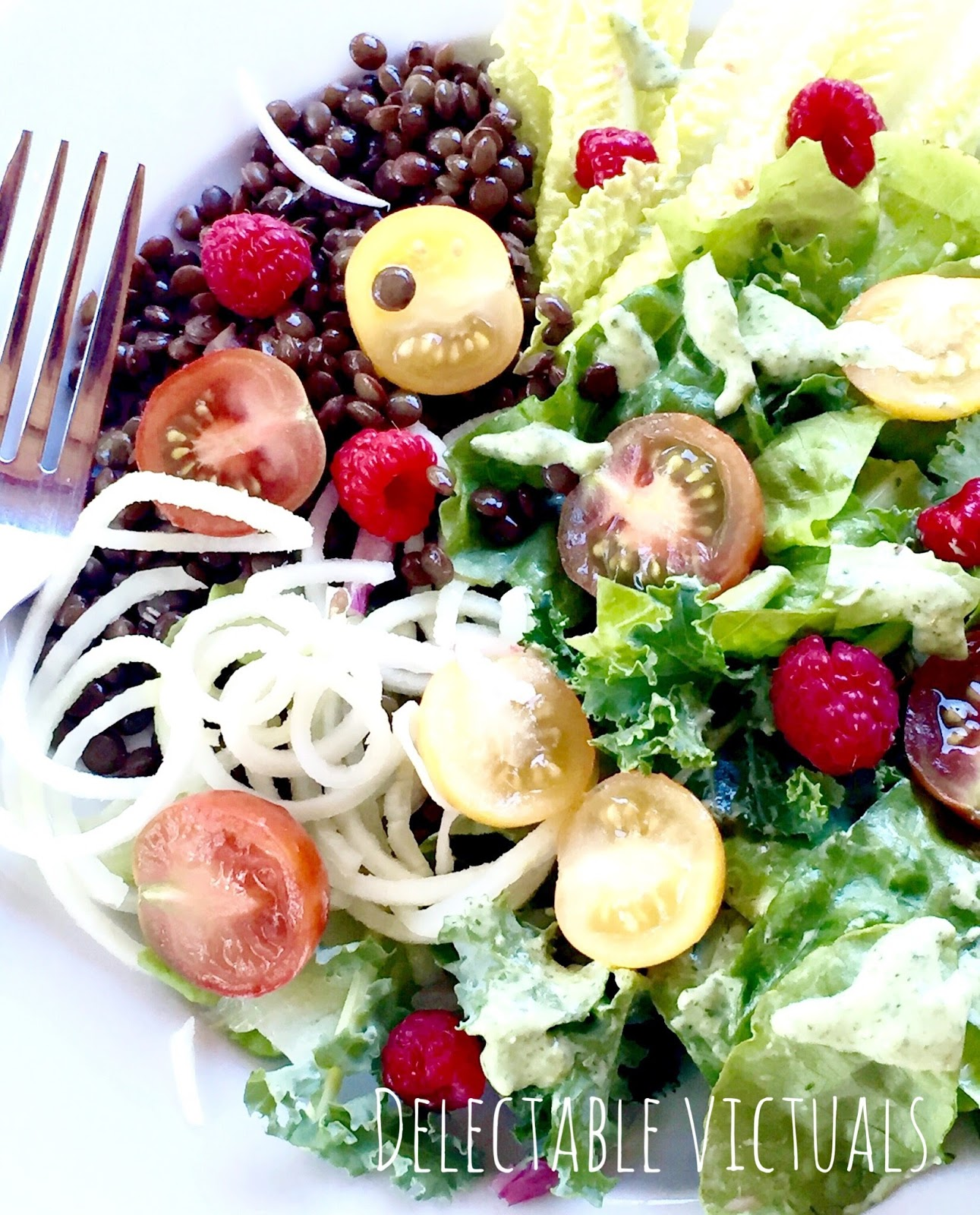 Summer Salad with Kohlrabi and Lentils raspberries kale green goddess herb dressing