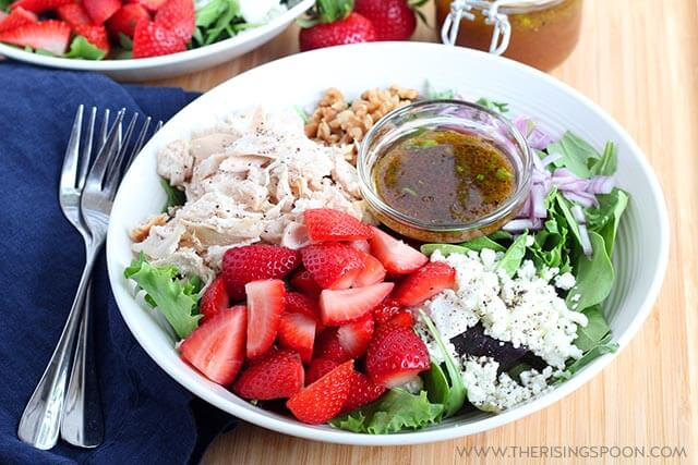 Strawberry Chicken Salad with Maple Balsamic Vinaigrette
